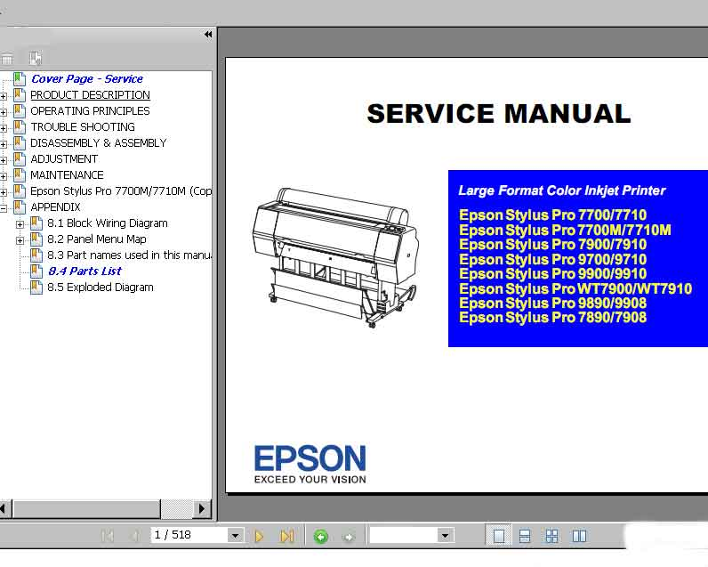 Epson Stylus Pro Pro 7700, 7710, 7890, 7900, 7910, 9700, 9710, 9900, 9910, WT7900, WT7910, 9890, 9908, 7890, 7908 printers Service Manual, Parts List, Block Wiring Diagram and Exploded Diagram   <font color=red>New!</font>