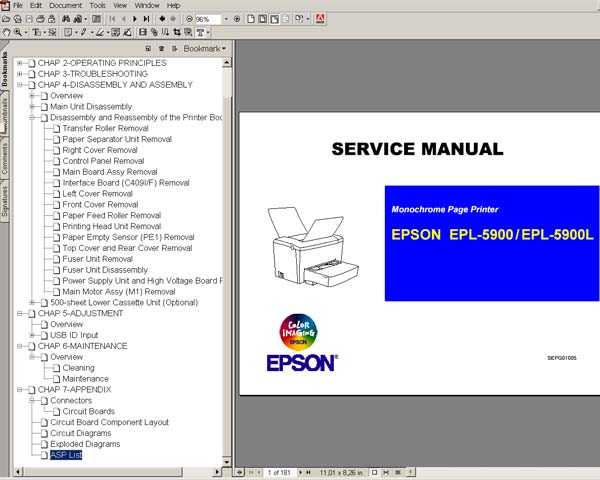 Epson EPL 5900, 5900L Printers<br> Service Manual, ASP List and diagrams
