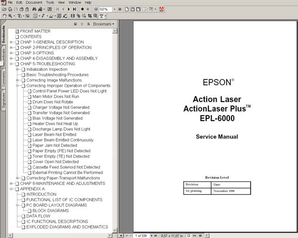 Epson EPL 6000, Action Laser, ActionLaser Plus Printers<br> Service Manual and diagrams