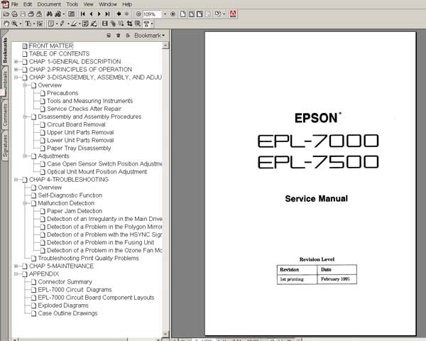 Epson EPL 7000, 7500 Printers<br> Service Manual and diagrams