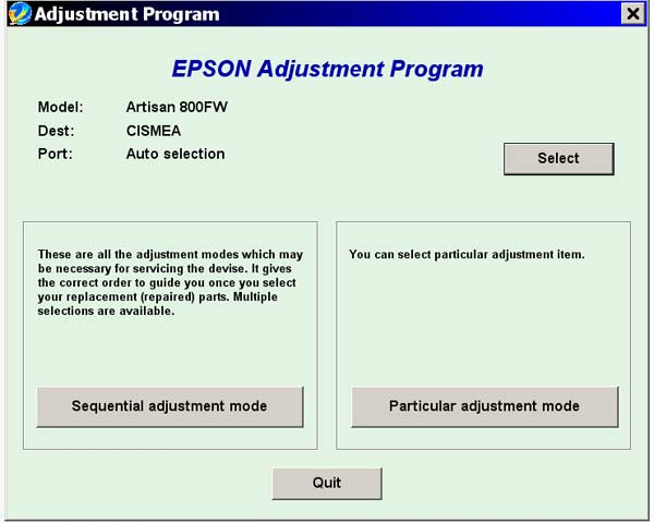 Epson <b>Artisan 800FW</b> Service Adjustment Program