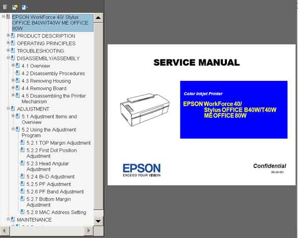 Epson Stylus OFFICE B40W, T40W, ME OFFICE 80W, WorkForce 40 printers Service Manual  <font color=red>New!</font>