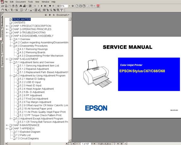 Epson C67, C68, D68 printers Service Manual and Parts list
