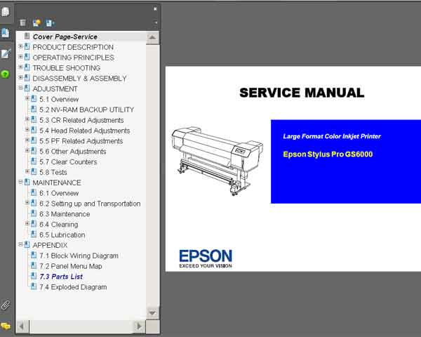 Epson Pro GS6000 plotter Service Manual and Parts List <font color=red>New!</font>