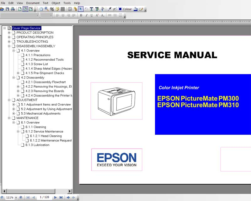 Epson PictureMate PM300, PM310 printers Service Manual