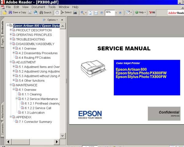 Epson Artisan 800, PX800FW, TX800W printers Service Manual  <font color=red>New!</font>