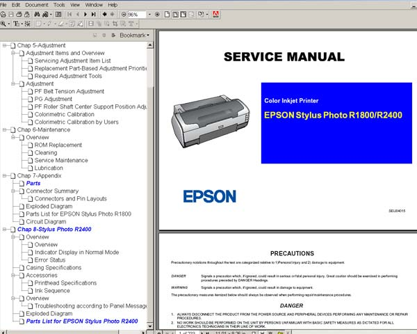 Epson R1800, R2400 printers Service Manual and Parts List