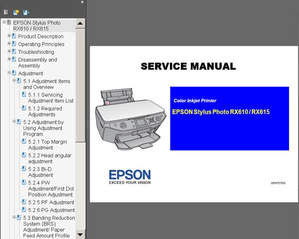 Epson RX610, RX615 Printer Service Manual