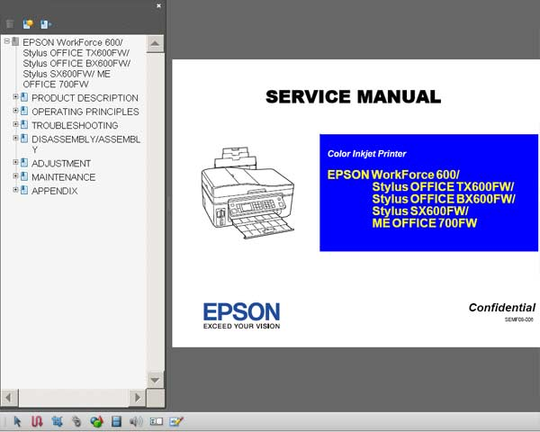 Epson TX600FW, BX600FW, SX600FW, ME OFFICE 700FW, WorkForce 600 printers Service Manual  <font color=red>New!</font>