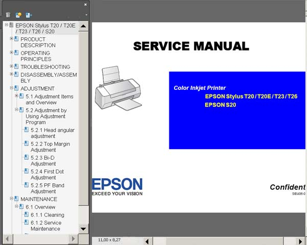 Epson T20, T20E, T23, T26, S20 Printers Service Manual <font color=red>New!</font>