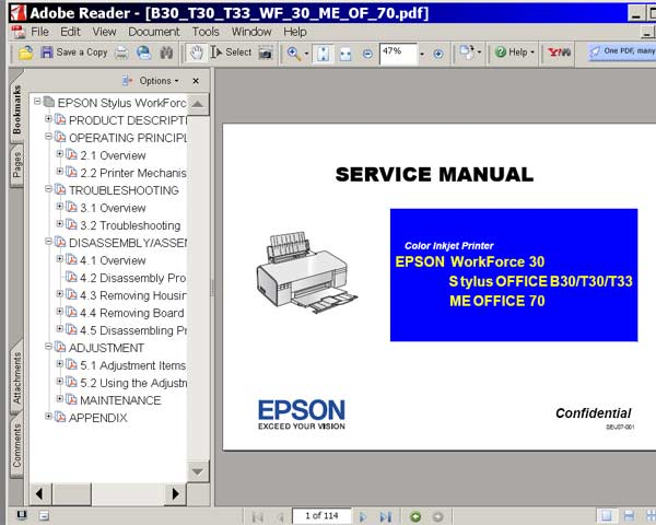 Epson Stylus OFFICE B30, T30, T33,   WorkForce 30, ME OFFICE 70 printers <br>Service Manual <font color=red>New!</font>