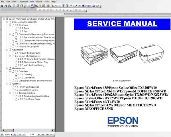 Epson T42wd, TX560wd, TX620fwd, B42wd, BX525wd, BX625fwd,  SX525wd, ME Office 82wd, 85ns, 900wd, 960fwd,   WorkForce 60, 620, 625, 635   printers Service Manual <font color=red>New!</font>