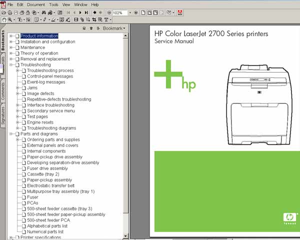 HP Color LaserJet 2700 Printer <br> Service Manual, Parts and Diagrams
