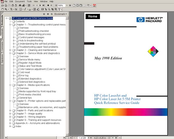 HP Color LaserJet and HP Color Laser Jet 5/5M Printers <br> Quick Reference Service Guide