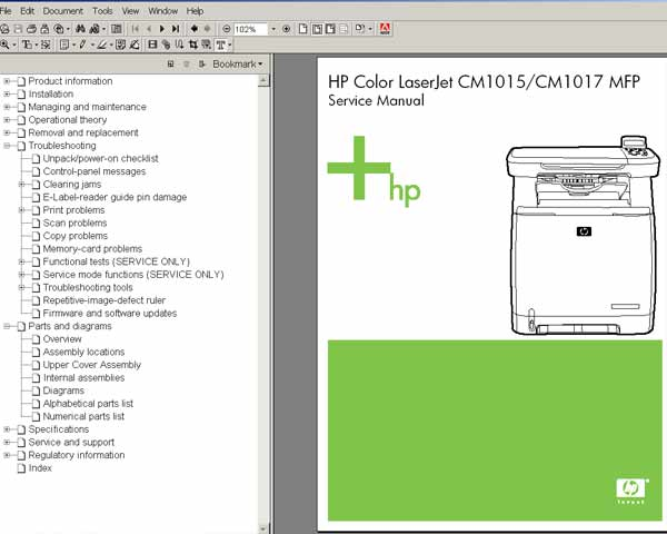 HP Color LaserJet CM1015, CM1017 MFP <br> Service Manual, Parts and Diagrams