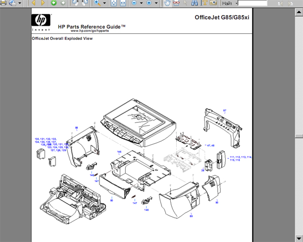 HP OfficeJet G85 Parts Reference Guide with Exploded View and Parts List