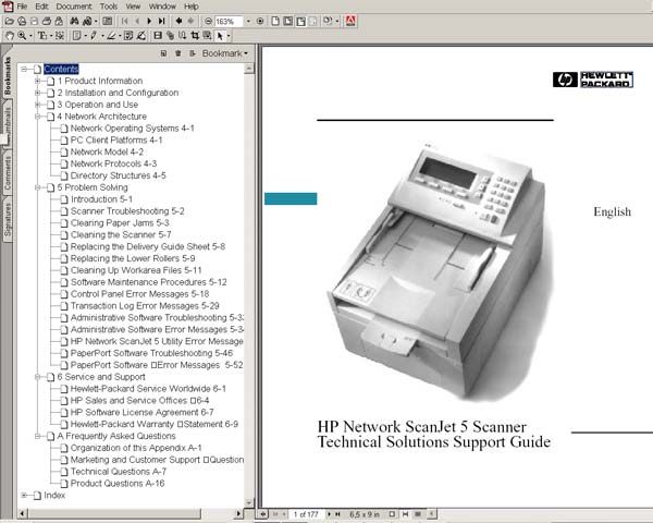 HP Network ScanJet 5 Scanner <br> Technical Solutions Support Guide