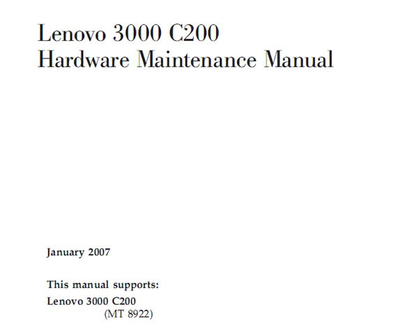Lenovo  3000  C200 Notebook <br>Hardware Maintenance Manual  (Service Manual)