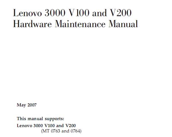 Lenovo  3000  V100, V200 Notebook <br>Hardware Maintenance Manual  (Service Manual)