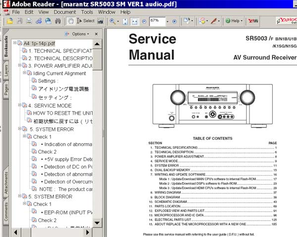 Marantz Sr5003 Surround Receiver Service Manual Service