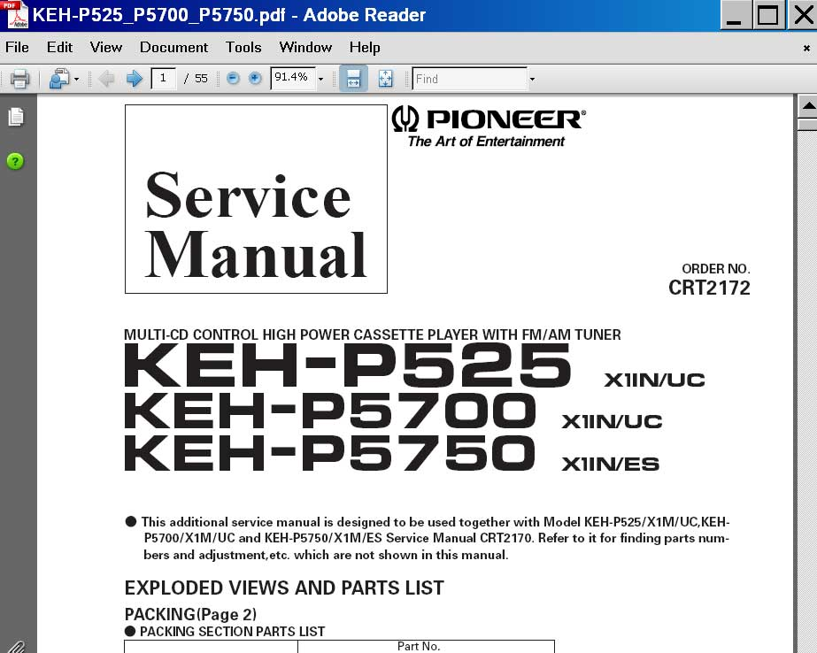 Pioneer KEH-P525, KEH-P5700, KEH-P5750 multi-CD control high power cassette player Service Manual, exploded views and parts list <font color=red>New!</font>