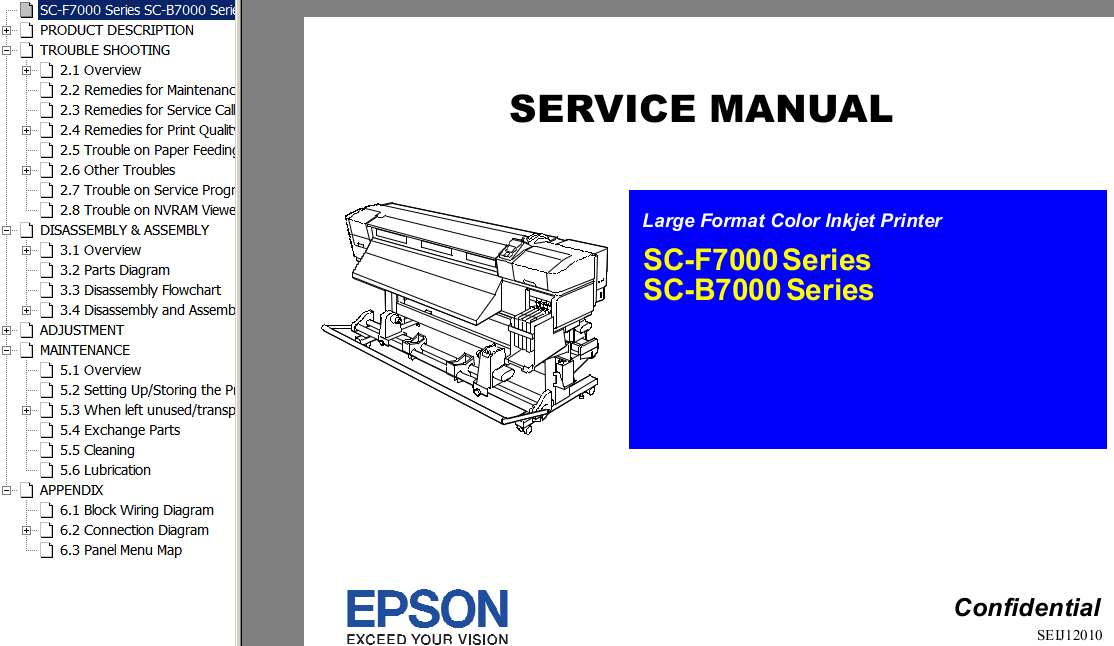 Epson <b>SC-F7000, SC-B7000  Series </b> Large Format Color Inkjet Printer  Service Manual  and Block Wiring Diagram <font color=red>New!</font>