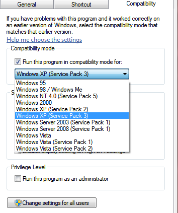 Windows 7 compatibility mode