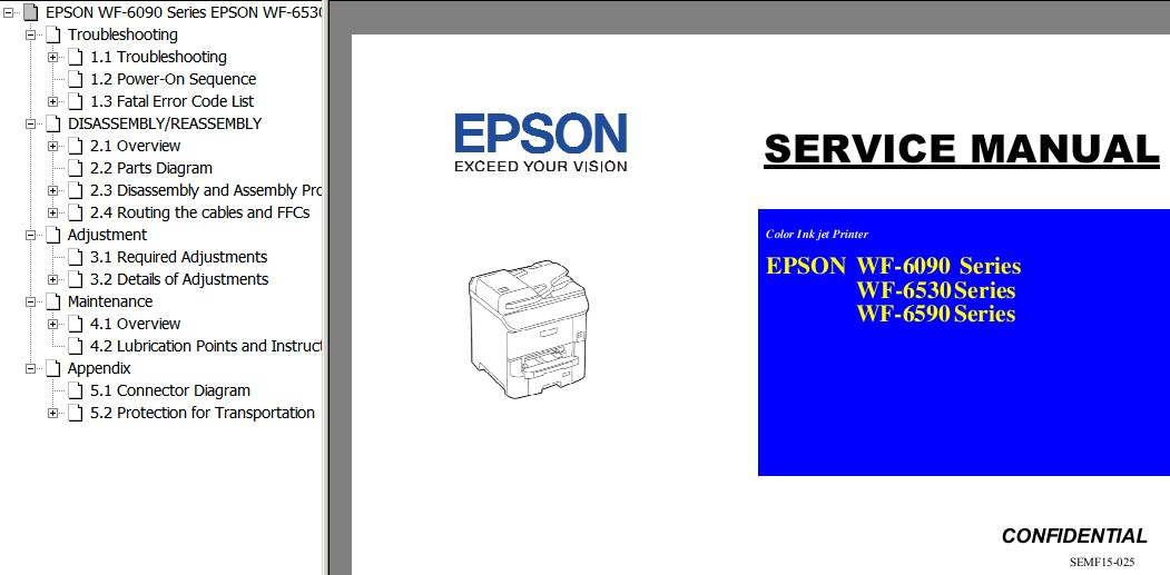 Epson <b>WF-6090, WF-6530, WF-6590 Series</b> printers Service Manual  <font color=orange>New!</font>